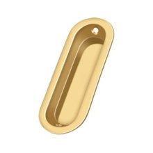 "Flush Pull, Oblong, 3-1/2""x 1-1/4""x 5/16"" - PVD Polished Brass"