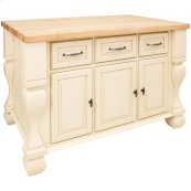 """52-5/8"""" x 32-3/8"""" x 35-1/4"""" Antique white furniture style kitchen island with ample cabinet storage as well as opening shelf on the reverse."""
