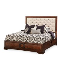 Eastern King Panel Bed w/Fabric Tufted Headboard
