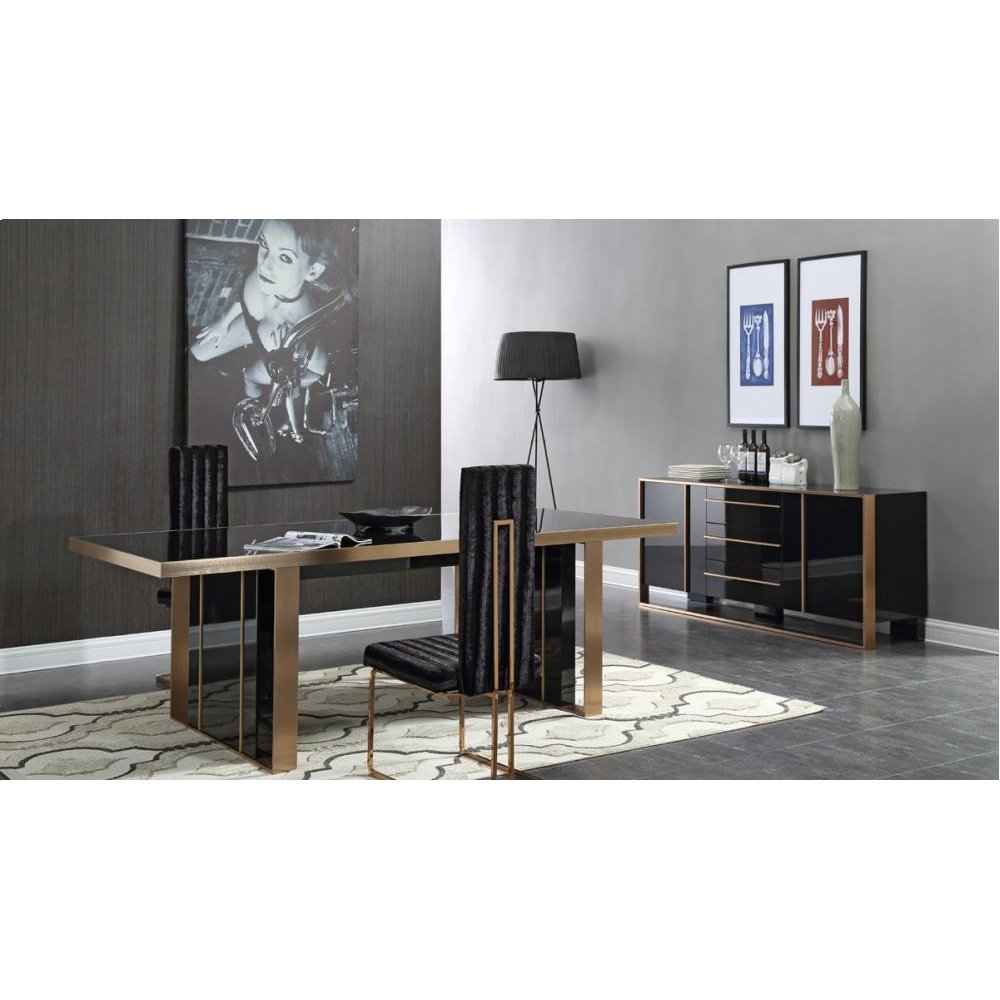 Nova Domus Cartier Modern Black & Brushed Bronze Dining Set