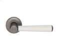 Tube Stitch Incombination Leather Door Lever In White (special Order) And Vintange Nickel Product Image
