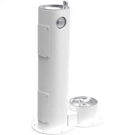 Elkay Outdoor Fountain Pedestal with Pet Station, Non-Filtered Non-Refrigerated, Freeze Resistant, White