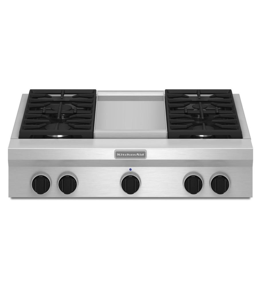 36 Inch 4 Burner With Griddle Gas Rangetop Commercial Style Stainless Steel
