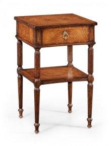 Regency Style Walnut Bedside Table
