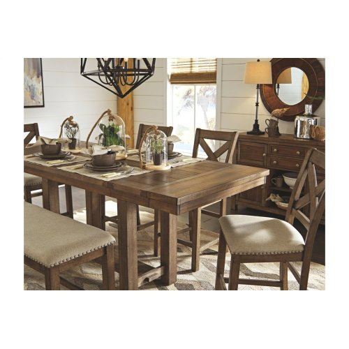 ASHLEY D631-32-124-09 Moriville 6-Piece Dinette - Dining Room Rectangular Counter Table, 4 Chairs & 1 Bench