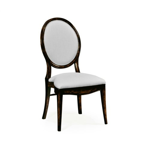 Stacking Spoon Back Honey Black Dining Side Chair, Upholstered in COM