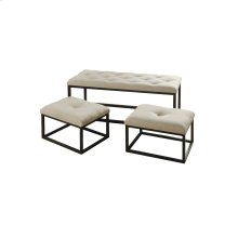 Silk Road Grey Bench  Large 44in X 17in X 17in Small 20in X 14in X 12.5in  Set of Three Traditona