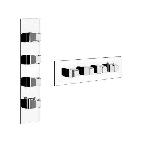 "TRIM PARTS ONLY External parts for thermostatic with 3 volume controls Single backplate High capacity 3/4"" connections Vertical/Horizontal application Anti-scalding Requires in-wall rough valve 39695"