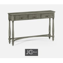 Antique Dark Grey Three Drawer Large Console Table