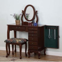 """Heirloom Cherry"" Jewelry Armoire Vanity, Mirror & Bench"