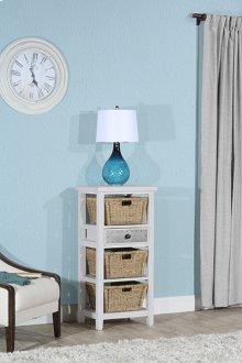 Tuscan Retreat® Basket Stand With Metal Front Door and Three Baskets - Frost Wood / Textured Pewter