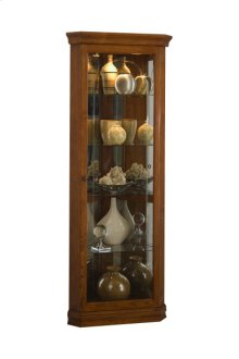 Mirrored 4 Shelf Corner Curio Cabinet in Golden Oak Brown