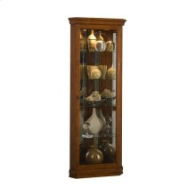 Mirrored 4 Shelf Corner Curio Cabinet in Golden Oak Brown