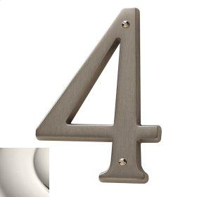 Polished Nickel House Number - 4