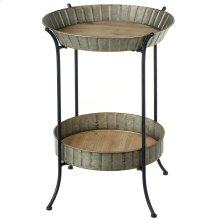 Two Tier Round Galvanized Fluted Side Table.