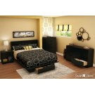Platform Bed with Drawer and Headboard Set - Pure Black Product Image