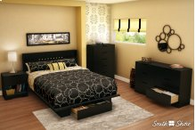 Platform Bed with Drawer and Headboard Set - Pure Black