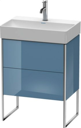 Vanity Unit Floorstanding Compact, Stone Blue High Gloss Lacquer