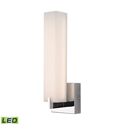 Moderno 1 Light White Sconce in Chrome and Opal Glass