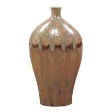 Mocha & Verde Dripped Ceramic Vase - Tall