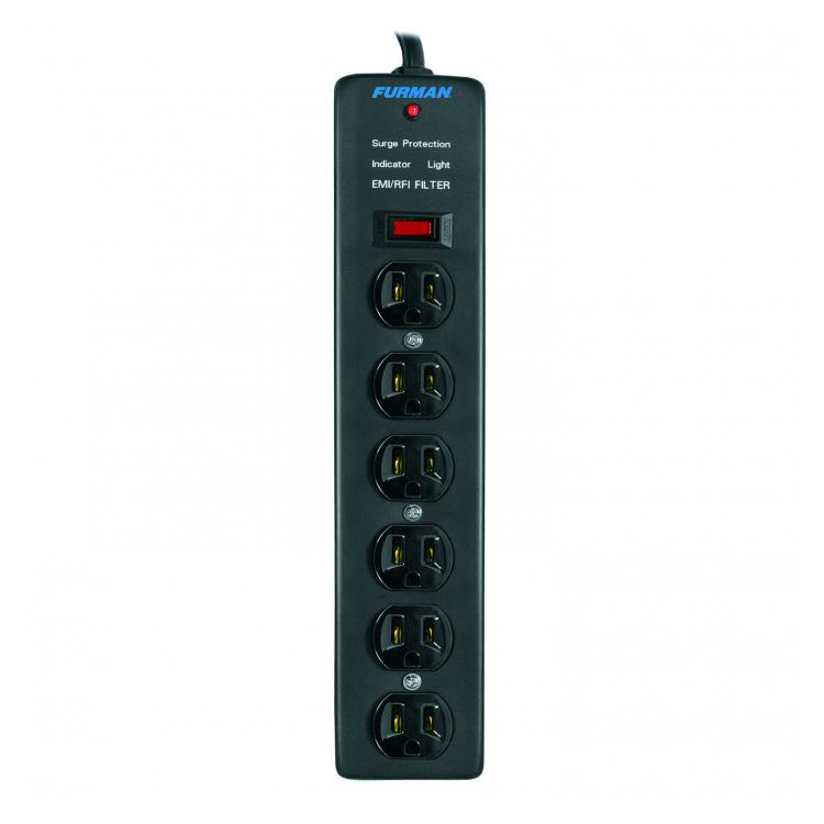Get six outlets where you need them with this vertical surge suppressor