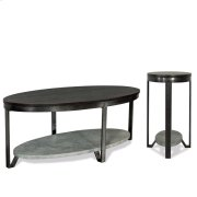 Oval Coffee Table - Weathered Worn Black Finish Product Image
