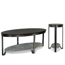 Oval Coffee Table - Weathered Worn Black Finish