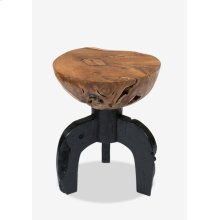 (LS) Kenya solid round teakwood stool with black wood base..(15X15X19.5)
