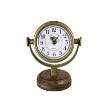 Gold Swivel Clock On Wood Base