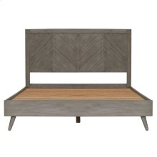 Piero Chevron Queen Bed Set, Weathered Gray
