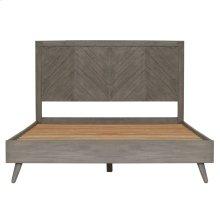 Piero Chevron Queen Bed Set, Weathered Gray