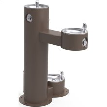 Elkay Outdoor Fountain Bi-Level Pedestal with Pet Station, Non-Filtered Non-Refrigerated, Freeze Resistant, Brown