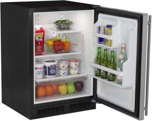 """24"""" All Refrigerator with Drawer - Marvel Refrigeration - Black Door - Right Hinge"""