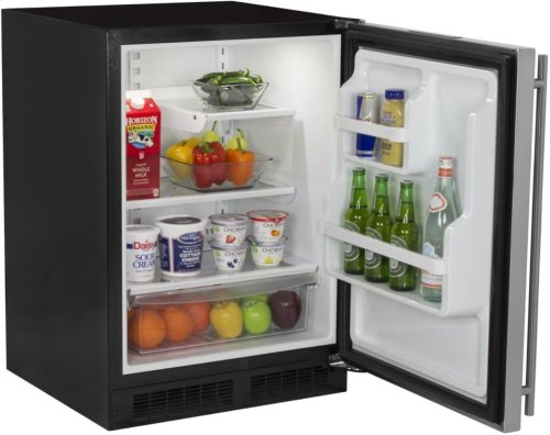 """24"""" All Refrigerator with Drawer - Marvel Refrigeration - Solid Stainless Steel Door - Right Hinge"""