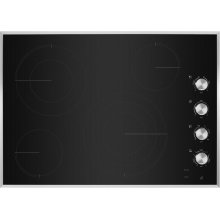 """30"""" Lustre Stainless Radiant Glass Cooktop with Halo-Effect Knobs, Stainless Steel"""