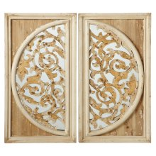 2 pc. ppk. Distressed Gold Overlay on Half Circle Wall Mirror. (2 pc. ppk.)