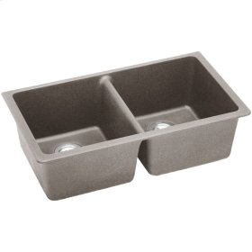 "Elkay Quartz Classic 33"" x 18-1/2"" x 9-1/2"", Equal Double Bowl Undermount Sink, Greige"