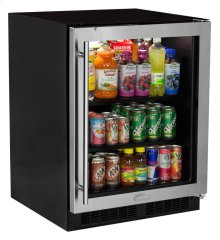 """24"""" Low Profile Beverage Center - Stainless Frame Glass Door - Right Hinge"""