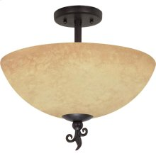 "3-Light 16"" Old Bronze Semi Flush Ceiling Light Fixture with Tuscan Suede Glass"