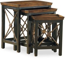 Nest of Three Tables w/Medallion Motif