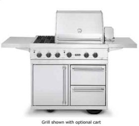 """Stainless Steel 41"""" Ultra-Premium T-Series Grill with TruSear & Side Burners - VGIQ (41"""" wide with one standard 25,000 BTU stainless steel burner and one 30,000 BTU TruSear infrared burner and double side burners (LP/Propane))"""
