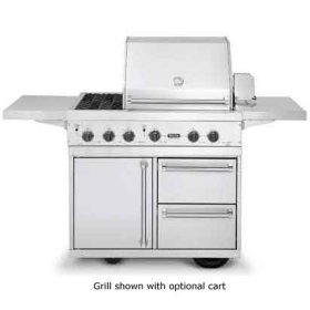 "Stainless Steel 41"" Ultra-Premium T-Series Grill with TruSear & Side Burners - VGIQ (41"" wide with one standard 25,000 BTU stainless steel burner and one 30,000 BTU TruSear infrared burner and double side burners (Natural Gas))"