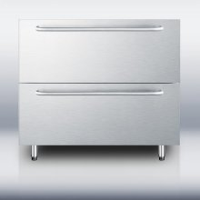 """36"""" wide stainless steel two-drawer refrigerator with towel bar handles, for built-in or freestanding use; made for us by Ariston in Italy"""
