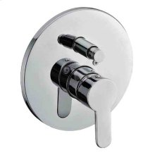 AB3101 Brushed Nickel Shower Valve Mixer with Rounded Lever Handle and Diverter