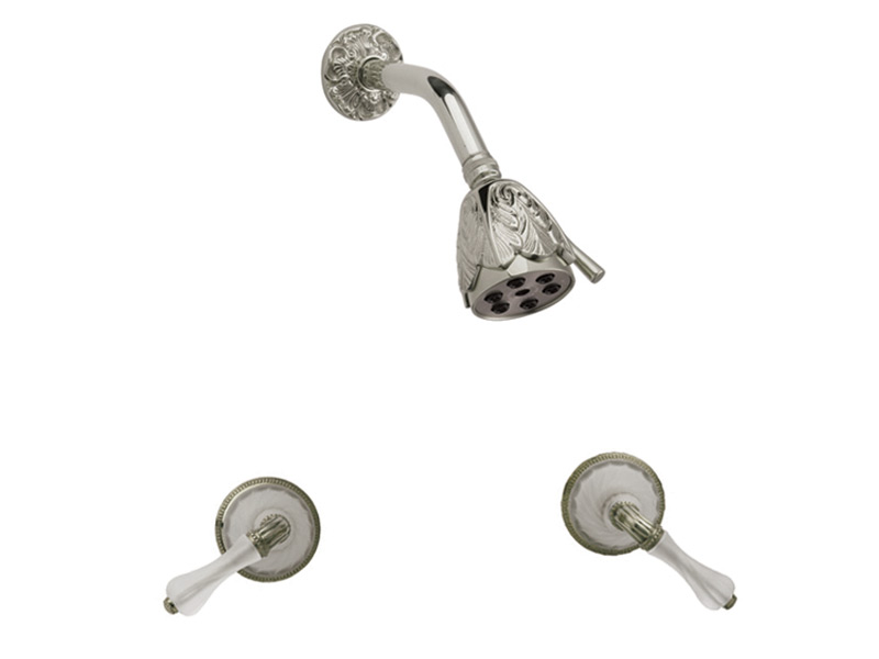 Two Handle Shower Set Frosted Crystal - Polished Brass