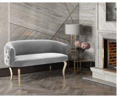 Adina Grey Velvet Loveseat with Gold Legs Product Image