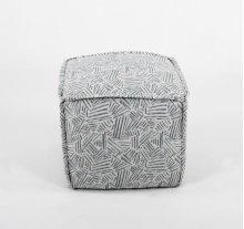 Pouf ottoman w/ flange sewn seams