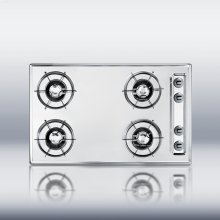 """30"""" wide 4 burner cooktop in brushed chrome with gas pilot light"""