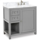 """This 36"""" vanity has a grey finish, satin nickel hardware and clean lines with a stepped door profile. Includes preassembled top and bowl."""