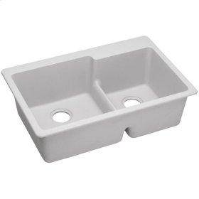 """Elkay Quartz Classic 33"""" x 22"""" x 9-1/2"""", Offset 60/40 Double Bowl Top Mount Sink with Aqua Divide, White"""